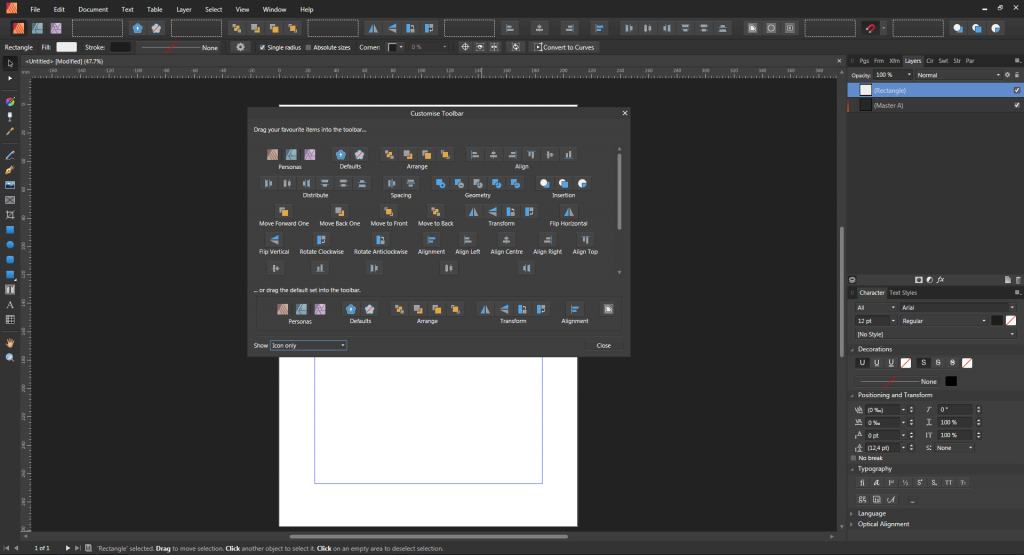 Interfejs programu affinity designer