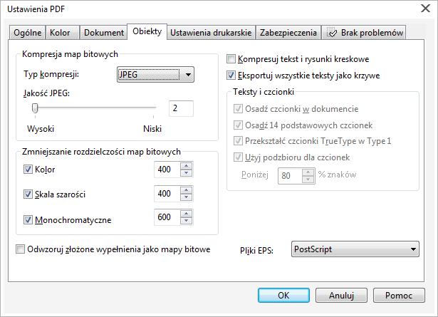 Jaki typ kompresji przy eksporcie doPDF wCorelu