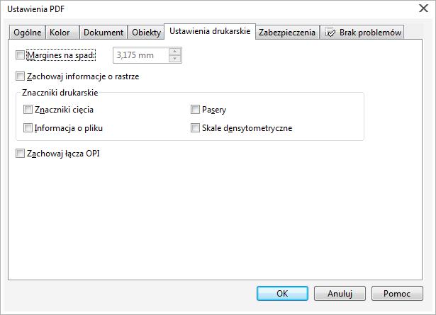 Ustawienia PDF wCorelDRAW