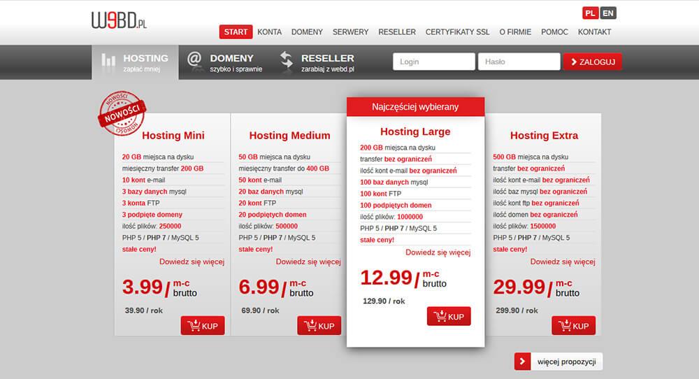najtańszy hosting zdużą pojemnością nabackup