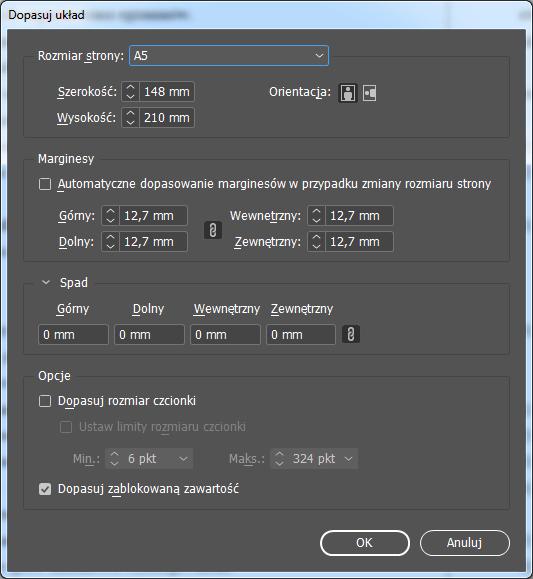 Zmiana formatu strony wInDesign
